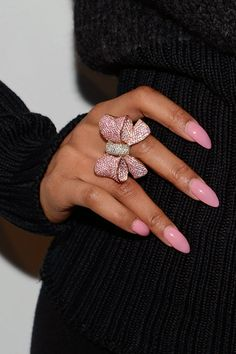 Pink Bling Bow Ring with Matching Oval Pink Nails #Bitch