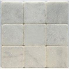 Bianco Carrara White 4 X 4 Tumbled Marble Tile $10