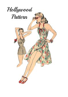 Vintage 1940s Hollywood 1778 Misses Pinup Gathered Bodice Halter Top Peek a Boo Keyhole Playsuit and Overskirt Sewing Pattern Sz 14/32