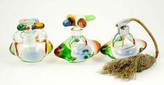 Italian Glass Steampunk Vanity Set Seguso Murano Perfume Bottle Jar Italy  #SegusoMurano