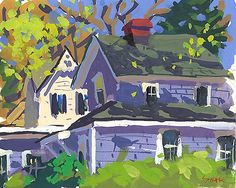 """""""Backyard Vignette"""" gouache/board by Charles Sovek"""