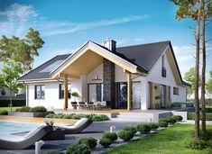 Casa cu parter si mansarda si terasa acoperita cu semineu de piatra