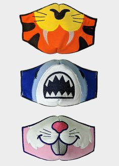Choose from Tiger (orange), Shark (blue), or Bunny (pink). Reusable and washable face mask. Animal Face Mask, Cat Face Mask, Animal Faces, Darth Vader Face, Sewing Crafts, Sewing Projects, Tiger And Bunny, Face Masks For Kids, Bunny Face