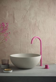 We've saved one of our favourites to the end. Have you seen this blushingly luminous hue yet? ⠀⠀ Likelihood is that you've never seen colour pink paired with such a muted set of natural tones and textures, including the perfect Rena concrete basin by ⠀⠀ Concrete Basin, Concrete Bathroom, Bathroom Trends, Bathroom Interior Design, Bathroom Sink Design, Bathroom Basin, Bathroom Hardware, Washroom, Funky Decor