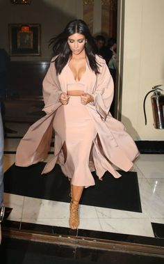 Pale Pink Combination. Overcoat, Plunge Crop Top and Multi Split Knee Length Skirt with Brown Cage Heels.