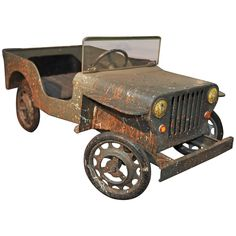 Jeep Iron Pedal Car, Manufactured in France, circa 1960   From a unique collection of antique and modern toys at https://www.1stdibs.com/furniture/more-furniture-collectibles/toys/