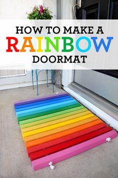 DIY Rainbow Doormat instructions - Sandytoesandpopsicles.com  #DIY #rainbow #doormat