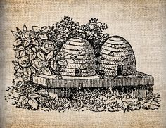 Antique+Bee+Skep+Bee+Hive+Digital+Download+for+by+AntiqueGraphique,+$1.00