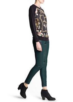 Jeans super slim verdes encerados