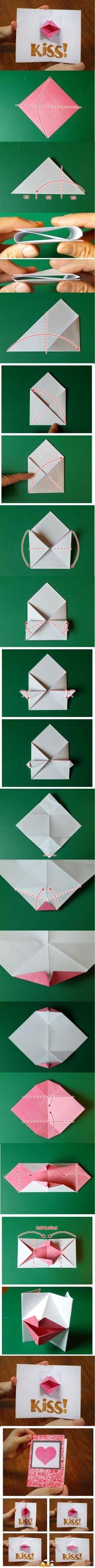 Tarjeta - Origami Beso