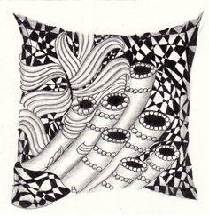 Ein Zentangle aus den Mustern Roehrl, Cracked, Meringue,  gezeichnet von Ela Rieger, CZT