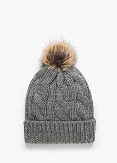 eb50cec86 Loro Piana Cable-Knit Fur Pom-Pom Hat ($745) ❤ liked on Polyvore ...