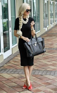 A Spoonful of Style on Bloglovin. Red shoes + black dress and bag, + pearls
