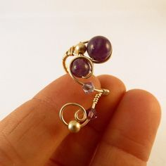 Wire wrapped adjustable Ring Amethyst, 14K gold Ooak, 025 | JosiannesJewelry - Jewelry on ArtFire