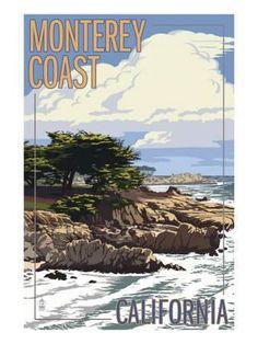 Monterey Coast, Ca View of Cypress Trees, c.2009 Art Print by Lantern Press at Art.com