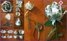 Money Bouquet Discover For Catie: Could use as a bow for graduation gift. Or spray with perfume and set inside gift box with hand-pieced quilt. Origami Money Flowers, Origami Rose, Money Origami, Paper Flowers, Money Rose, Money Lei, Origami Design, Diy Graduation Gifts, Leis For Graduation