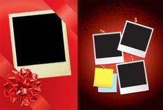 red ribbon and the polaroid photo vector