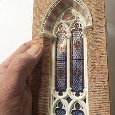 stained glass and brickwork.
