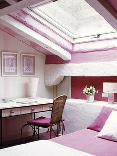 old style bedroom in the attic