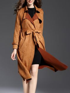 Shop Coats - Red Buttoned Suede Elegant Coat online. Discover unique designers fashion at StyleWe.com.