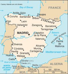 Spain and Portugal rivaled for who owned the lands discovered by Columbus. Pope Alexander VI set a Line of Demarcation and Spain owned the land west of the line, and Portugal owned the land east of the line. Geography Of Spain, Geography For Kids, Map Of Spain, Spain And Portugal, Sintra Portugal, Spain Tourism, Spain Travel, Travel Europe, Murcia