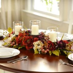 Peony Candle Centerpiece Dining Room