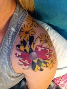 Black-eyed Susan flower with MD state flag inside State Tattoos, Pride Tattoo, Bff Tattoos, Love Tattoos, Black Tattoos, I Tattoo, Tatoos, Maryland Tattoo, Black Eyed Susan Flower