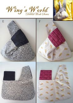 FREE shipping Lunch Bag/ Japanese Knot Bag/ by WingsWorld on Etsy
