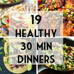19 healthy 30 minute dinner recipes that will save you from that rush! Full of wholesome ingredients that will feed your family and keep you satisfied. Includes some chicken beef and vegetarian options pasta recipes salad recipes stir fries an 30 Min Meals, 30 Minute Dinners, Fast Dinners, Quick Meals, Veggie Recipes, Vegetarian Recipes, Vegetarian Options, Cooking Recipes, Healthy Recipes