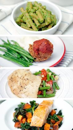 Consider 4 of your 5 weekdays covered with easy to make meals featuring salmon, pesto pasta, parchment chicken and meatloaf.