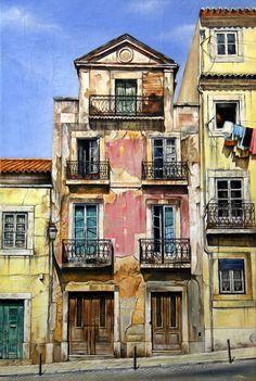 """'The Apartment' - acrylic on canvas painting - 24x36"""" - Lisbon."""