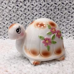 Adorable Kitschy Vintage Ceramic Pink Flowers Turtle Figure Cotton Ball Holder