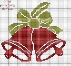 2 Christmas Bells with Bow Xmas Cross Stitch, Cross Stitch Christmas Ornaments, Cross Stitch Cards, Cross Stitch Rose, Cross Stitch Alphabet, Christmas Embroidery, Christmas Knitting, Christmas Cross, Cross Stitching