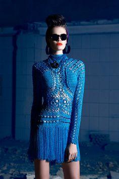 Nicolas Jebran's haute couture Fashion Moda, Crochet Fashion, Blue Fashion, High Fashion, Moda Crochet, Crochet Lace, Knit Dress, Dress Skirt, Vestidos Fashion