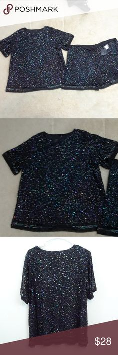 NWT ASOS CURVE SEQUINED SHORTS OUTFIT Top, new without tag, size 20 Shorts,  new with tag, size 16, zips in back Fully lined ASOS Curve Shorts