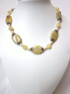 Yellow Agate Necklace with Fresh Water Pearls
