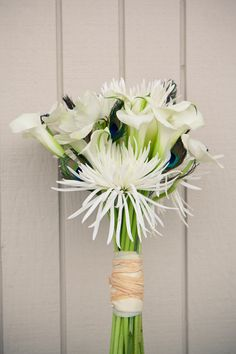 anenomies, calla lilies, spider mums, peacock feathers #wedding #flowers