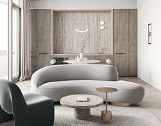 Park Avenue on Behance Sofa Design, Furniture Design, Living Room Designs, Living Room Decor, Curved Sofa, Piece A Vivre, Apartment Interior Design, Lounge Areas, Interiores Design