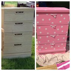 Before and After.Minnie Mouse dresser for my daughter but in red or black polka dots Girl Nursery, Girls Bedroom, Bedroom Decor, Bedroom Ideas, Minnie Mouse Nursery, Mickey Mouse, Minnie Mouse Room Decor, Deco Disney, Minnie Mouse Decorations