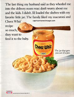 Vintage 1968 Cheez Whiz Magazine Ad Kraft Cheese Kitsch Food Advertising Retro Kitchen Decor Collect Frame or use for Crafting by CapricornOneEphemera on Etsy