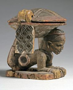 Africa | Divination bowl from the Yoruba people of Nigeria | Wood and pigment