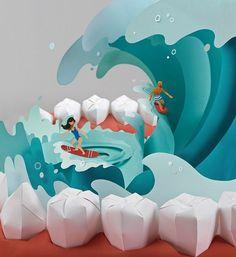 2019 Dental Calendar paper art project on Behance Dental Clinic Logo, Dental Braces, Dental Design, Dental Art, Paper Art Projects, Paper Craft, Dental Health, Dental Hygiene, Oral Health