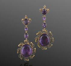 A pair of Georgian gold and amethyst cannetille pendant earrings, English circa 1820