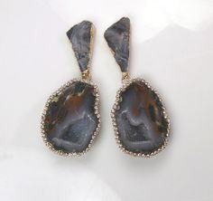 Tabasco Geode Earrings Diamond Bezel Style by DoolittleJewelry, $295.00
