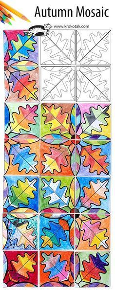 Fall arts & crafts for kids: Autumn Mosaic Fall Art Projects, School Art Projects, Projects For Kids, School Craft, Classe D'art, 3rd Grade Art, Art Lessons Elementary, Elementary Schools, Middle School Art