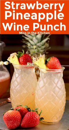 Strawberry Pineapple Wine Punch is a simple and delicious party cocktail that is easy to make ahead. A refreshing large batch party punch that is sure to please the crowd! Best Cocktail Recipes, Best Soup Recipes, Punch Recipes, Yummy Recipes, Fruity Drinks, Fun Cocktails, Yummy Drinks, Fun Drinks, Wine Pineapple