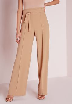 Missguided - Tie Waist Crepe Wide Leg Trousers Camel