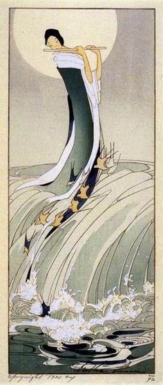 Bertha Lum 1916 Woodblock print Song of the Brook