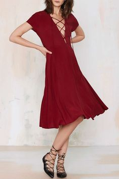 Burgundy, V-Neck lace Up, Midi Dress.
