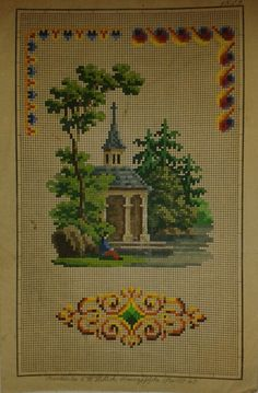 Love the ornate ornament at the bottom! Cross Stitch House, Mini Cross Stitch, Cross Stitch Charts, Cross Stitch Designs, Vintage Cross Stitches, Vintage Embroidery, Embroidery Patterns, Victorian Pattern, Cross Stitch Landscape